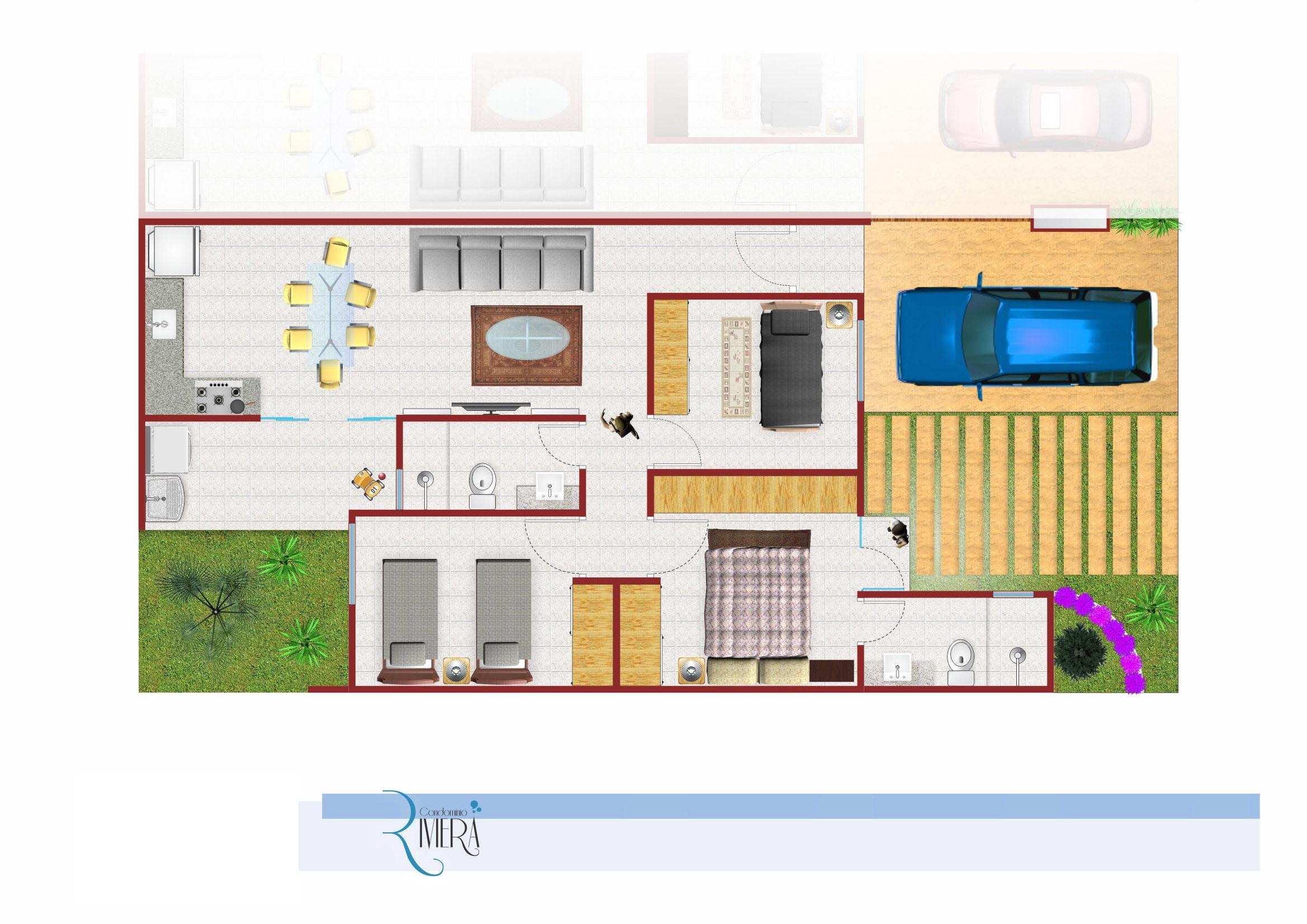 3 dormitórios sendo 1 suíte, wc, cozinha americana (sala, copa e cozinha), lavanderia coberta, 2 vagas de garagem.